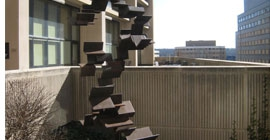 The Untitled art sculpture sits near Benedum Hall on Pitt's campus